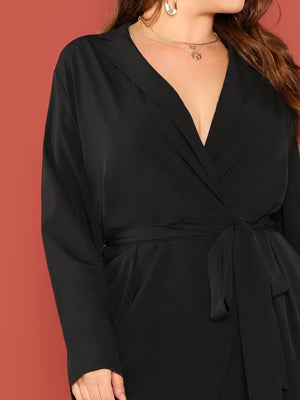 Plus Surplice Neck Slant Pocket Belted Jumpsuit