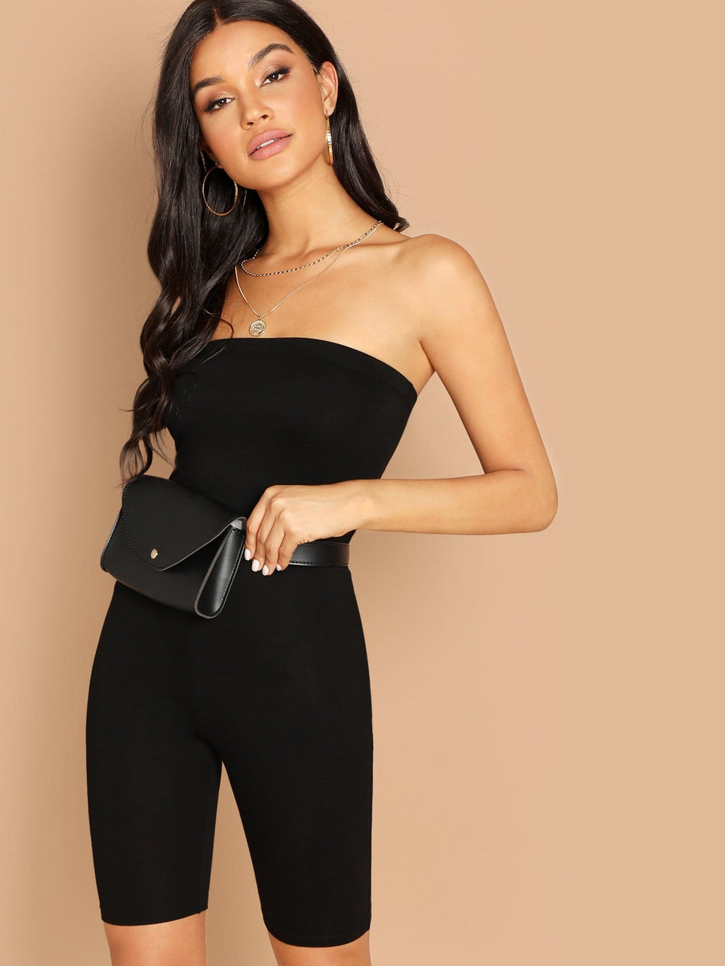 Form Fitting Glitter Strapless Romper