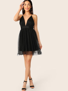 Plunging Neck Crisscross Back Mesh Overlay Dress