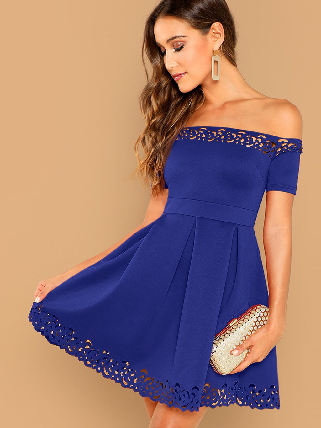 Off Shoulder Laser Cut Fit & Flare Dress