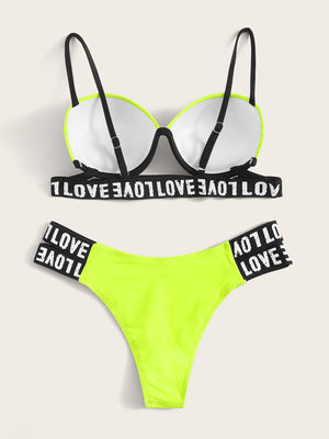Neon Lime Letter Tape Underwire Bikini Set
