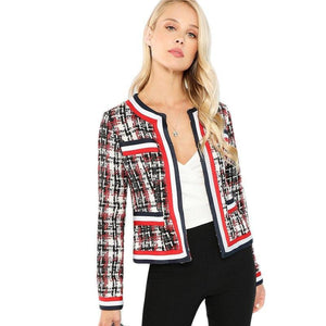 Multicolor Elegant Highstreet Contrast Tape Open Placket Tweed Round