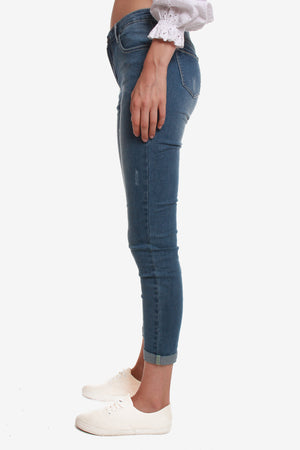 Slight Distressed Ankle Jeans