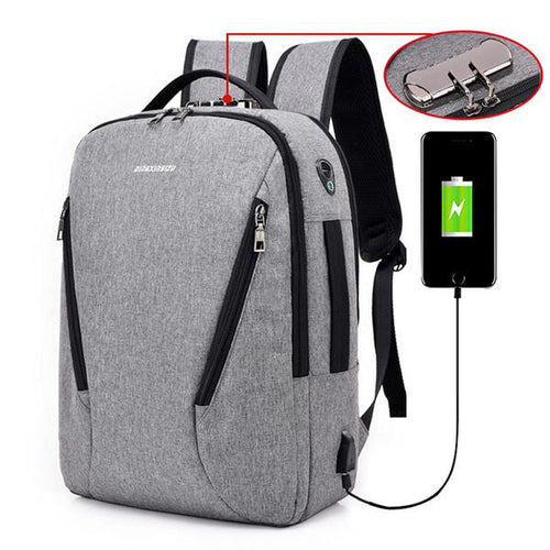 Canvas Backpack Anti-thief USB Charging