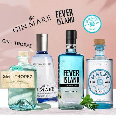 4 pack deal!  Gin Mare Gin, Gin-Tropez, Fever Island en Malfy Gin