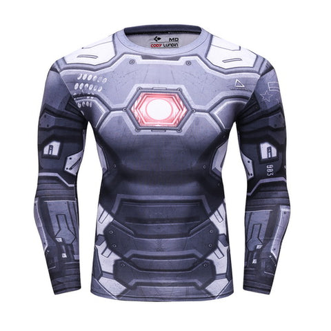 War Machine Cosplay Training Compresson Long Sleeves for Men Fitness