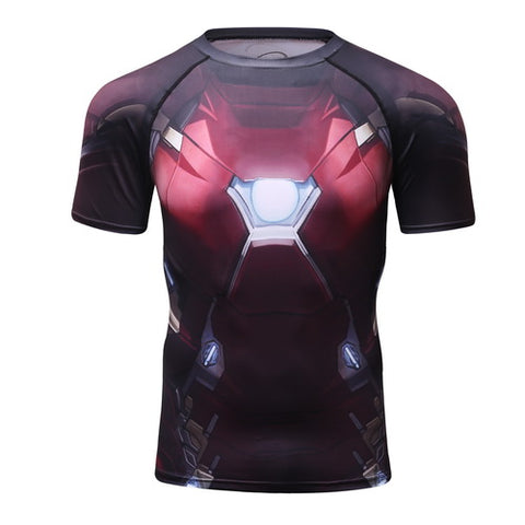 Hero Training Iron Man Costume Workout Compression T-Shirts for Men  02