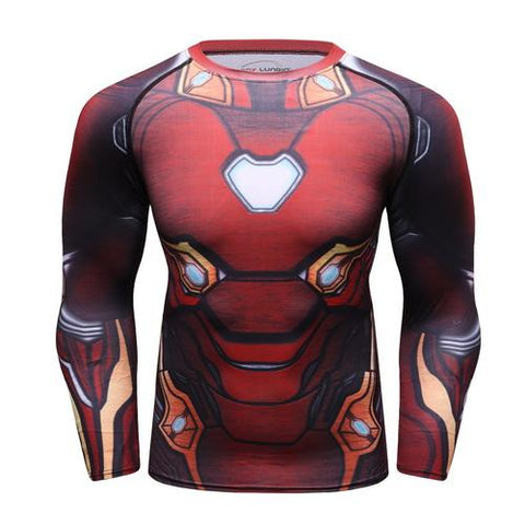 Iron Man Cosplay Training Compression Long Sleeves for Men Fitness 01 - Cosplay Fitness | KiTak