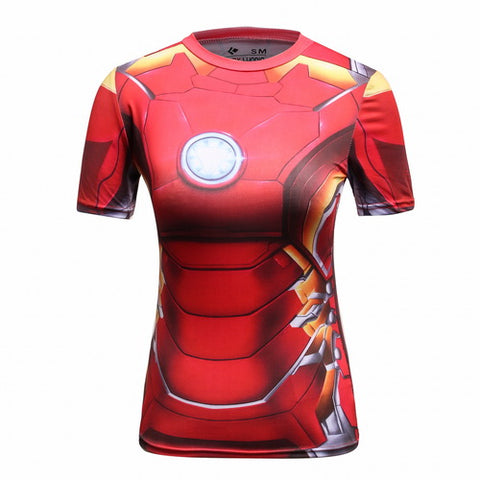 Hero Training Iron Man Costume Workout Compression T-Shirts for Women (MK43)