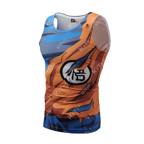 Battle Damaged Goku Cosplay Training Compression Tank Tops for Men Fitness - Cosplay Fitness | KiTak