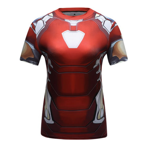 Iron Man Cosplay Training Compression T-Shirts for Women Fitness