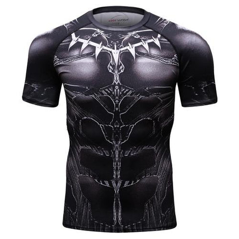 Black Panther Cosplay Training Compression T-Shirts for Men Fitness 01