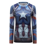 Captain America Workout Compresson Long Sleeves for Women(2019 Avengers Endgame)
