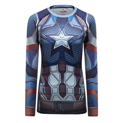 Captain America Cosplay Training Compresson Long Sleeves for Women Fitness(2019 Avengers Endgame)