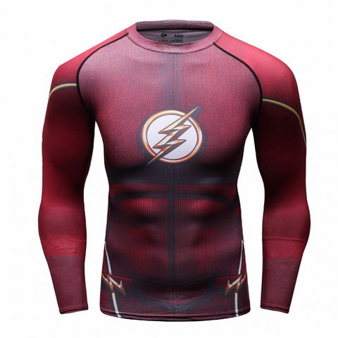 The Flash Cosplay Training Compression Long Sleeves for Men Fitness 02