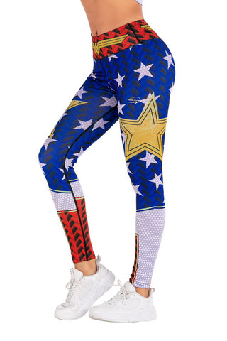Captain Marvel Cosplay Training Compression Leggings for Women Fitness