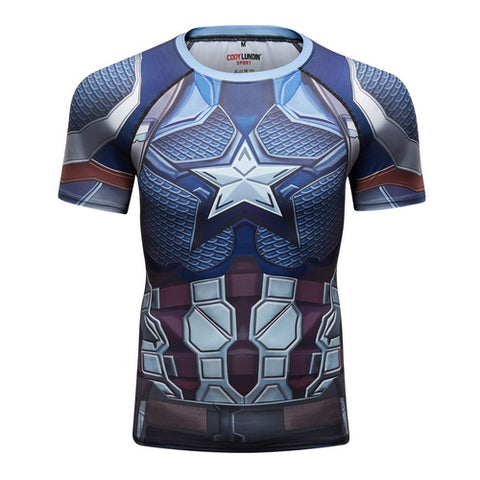 Captain America Workout Compression T Shirts for Men 01