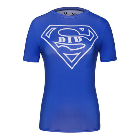 Casual Superman Cosplay Training Compression T-Shirts for Women Fitness(Blue)