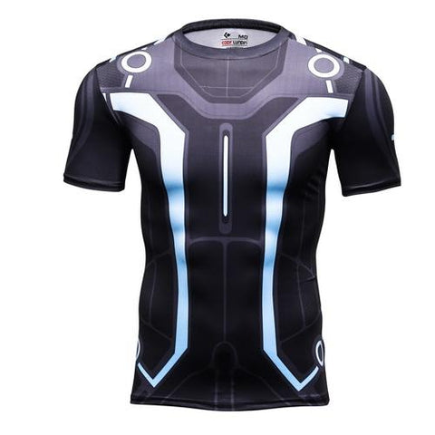 TRON: Legacy Light Suit Workout Compression T Shirts for Men