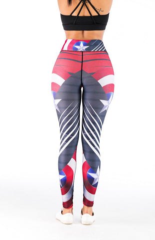 Captain America Cosplay Training Compression Leggings for Women Fitness 1