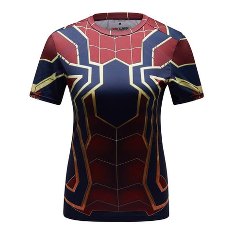 Spider-Man Workout Compression T Shirts for Women(2018 Avengers- Infinity War)