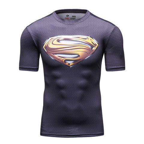 Superman Cosplay Training Compression T-Shirts for Men Fitness 2