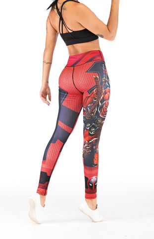 Deadpool Crossover Wonder Woman Workout Compression Leggings for Women