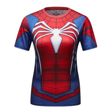 Spider-Man Workout Compression T Shirts for Women(PS4- ADVANCED SUIT)