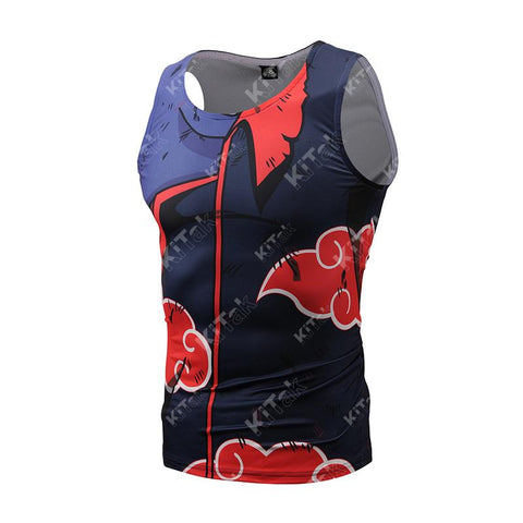 Akatsuki Battle Damaged Uchiha Itachi Workout Compression Tank Tops for Men