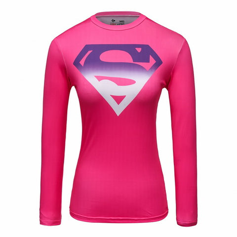 Supergirl Cosplay Training Compression Long Sleeves for Women Fitness(Pink)