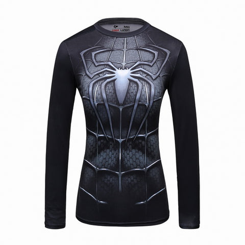 Spider-Man Cosplay Training Compression Long Sleeves for Women Fitness(2007 Spider-Man 3 Black Suit)