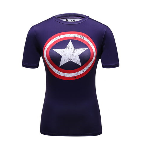 Captain America Cosplay Training Compression T-Shirts for Women Fitness(Purple)