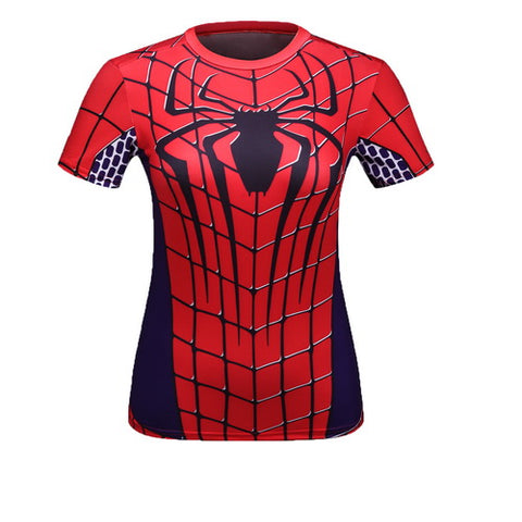Spider-Man Cosplay Training Compression T-Shirts for Women Fitness(2007 Spider-Man 3)