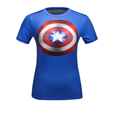 Captian America Cosplay Training Compression T-Shirts for Women Fitness(Blue)