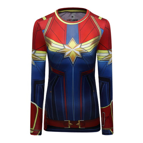 Captain Marvel Cosplay Training Compression Long Sleeves for Women Fitness
