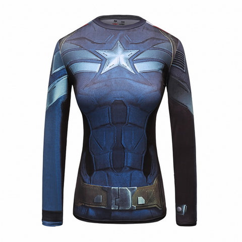 Captain America Cosplay Training Compression Long Sleeves for Women Fitness(STRIKE Stealth Uniform)