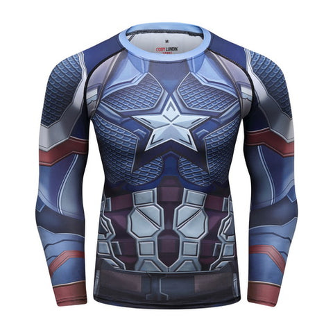 Captain America Workout Compression Long Sleeves for Men 01