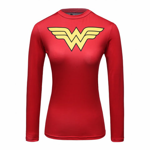 Wonder Woman Workout Compression Long Sleeves for Women(Red)