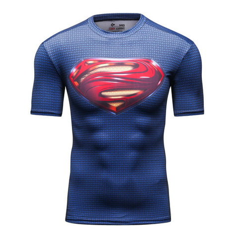 Superman Cosplay Training Compression T-Shirts for Men Fitness 1