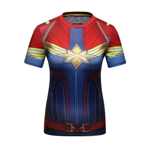 Captain Marvel Cosplay Training Compression T-Shirts for Women Fitness