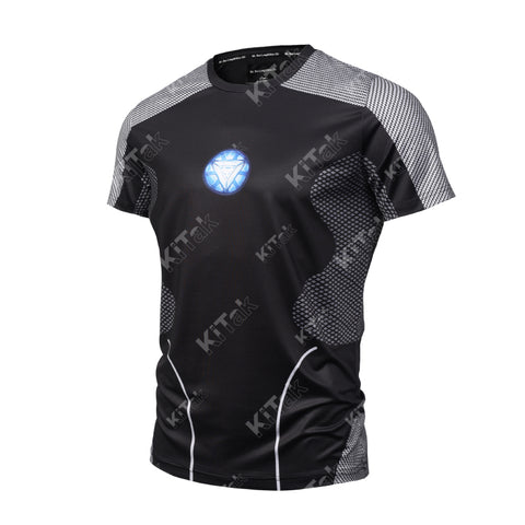 Fashion Iron Man Cosplay Training Compression T-Shirts for Men Fitness
