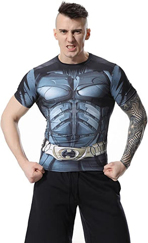 Batman Workout Compression T Shirts for Men(Man of Steel)