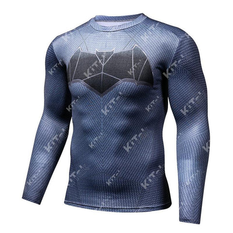 Batman Workout Compression Long Sleeves for Men(2006: Justice League)
