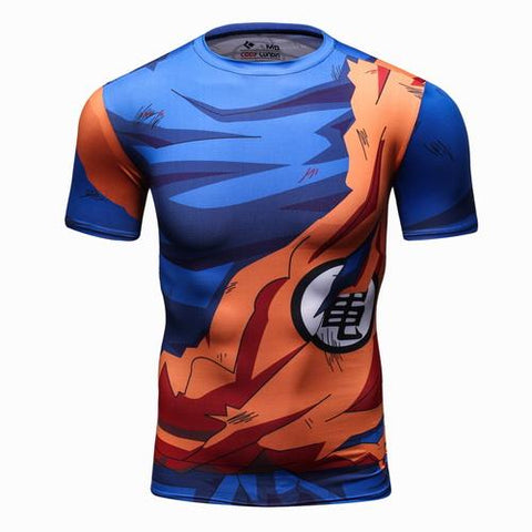 Battle Damaged Son Goku Roshi's kanji Workout Compression T Shirts for Men