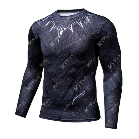 Black Panther Cosplay Training Compression Long Sleeves for Men Fitness(2016: Civil War)