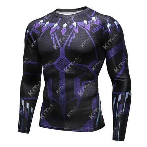 Black Panther Cosplay Training Compression Long Sleeves for Men Fitness(2018 Avengers: Infinity War)