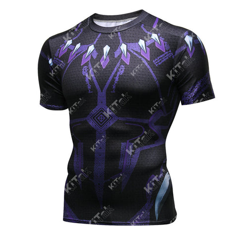Black Panther Cosplay Training Compression T-Shirts for Men Fitness(2018 Avengers: Infinity War)