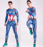 Captain America Workout Compression Long Sleeves for Men(2016: Civil War)