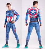 Hero Training Captain America Costume Workout Compression Long Sleeves for Men (2016: Civil War)