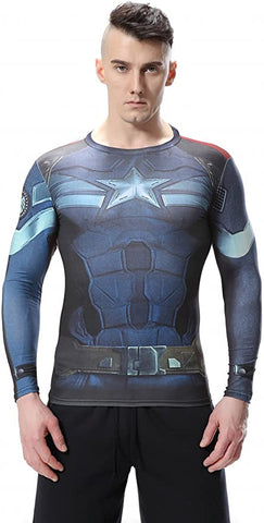 Captain America Workout Compression Long Sleeves for Men 6